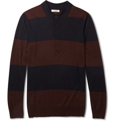 Valentino Striped Wool, Silk and Cashmere-Blend Polo Shirt
