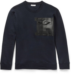 Valentino Leather-Trimmed Cotton-Blend Jersey Sweatshirt