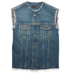 Saint Laurent Sleeveless Washed-Denim Jacket