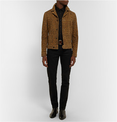 Saint Laurent Slim-Fit Leopard-Print Suede Jacket