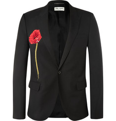 Saint Laurent Sequinned Poppy Embeliished Wool Blazer