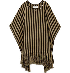 Saint Laurent Studded Striped Linen Poncho