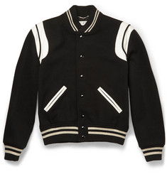 Saint Laurent - Leather-Trimmed Wool-Blend Varsity Jacket