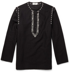 Saint Laurent Embroidered Cotton and Linen-Blend Tunic
