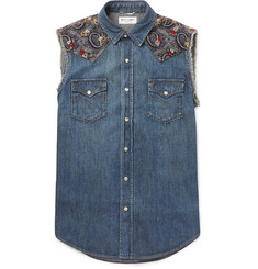 Saint Laurent Bandana-Trimmed Denim Vest