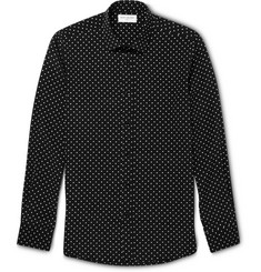 Saint Laurent Slim-Fit Star-Print Silk Shirt