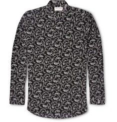 Saint Laurent Stand-Collar Paisley-Print Silk Shirt