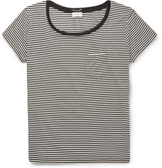 Saint Laurent Striped Silk-Blend T-Shirt