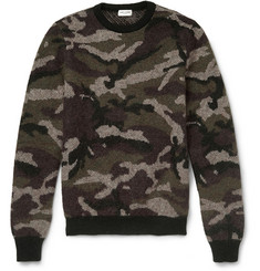 Saint Laurent Camouflage Mohair-Blend Crew Neck Sweater