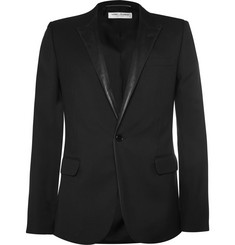Saint Laurent Black Leather-Trimmed Wool Blazer