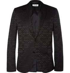 Saint Laurent Black Brocade Cotton-Blend Blazer