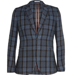 Paul Smith Blue Slim-Fit Check Linen Blazer