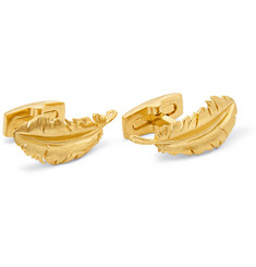 Alexander McQueen Gold-Plated Feather Cufflinks