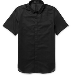 Calvin Klein Collection Carbon Short-Sleeved Cotton-Mesh Shirt