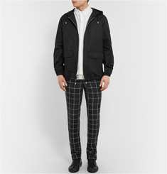AMI Window-Pane Check Linen Trousers