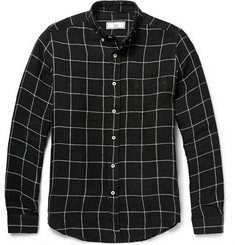 AMI Button-Down Collar Checked Linen Shirt