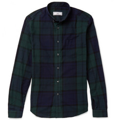 AMI Button-Down Collar Checked Cotton Shirt