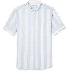AMI Striped Lightweight Cotton Short-Sleeved Shirt