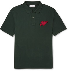 AMI Heart-Appliqué Cotton Polo Shirt