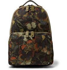 Valentino Leather Trimmed Butterfly-Print Canvas Backpack