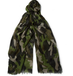 Valentino Camouflage-Print Cashmere and Silk-Blend Scarf