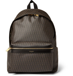 Saint Laurent Leather-Trimmed Monogrammed Backpack