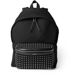 Saint Laurent Leather-Trimmed Studded Canvas Backpack