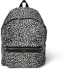 Saint Laurent Leather-Trimmed Babycat-Print Canvas Backpack