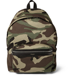 Saint Laurent Leather-Trimmed Camouflage-Print Canvas Backpack