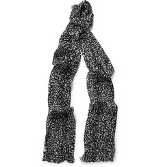 Saint Laurent Baby Cat-Patterned Wool and Silk-Blend Scarf