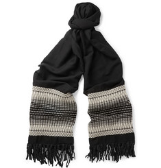 Saint Laurent Oversized Patterned Wool and Cotton-Blend Scarf