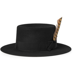 Saint Laurent Feather-Trimmed Rabbit-Felt Fedora Hat
