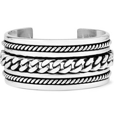 Saint Laurent Chain-Embossed Silver Cuff
