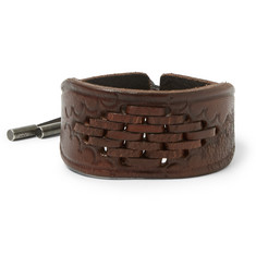 Saint Laurent Braided Leather Cuff