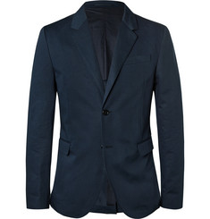 Marni Blue Cotton and Linen-Blend Blazer