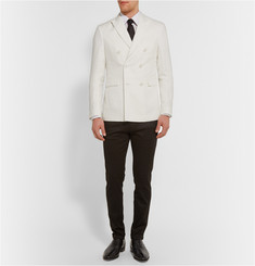 Burberry London Off-White Double-Breasted Linen Blazer