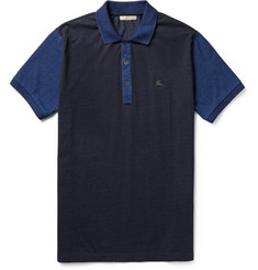 Burberry Brit Two-Tone Cotton-Jersey Polo Shirt