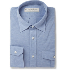 Gieves & Hawkes Blue Cotton-Piqué Shirt