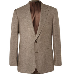 Gieves & Hawkes Brown Slim-Fit Silk, Linen and Wool-Blend Blazer