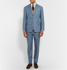 Gieves & Hawkes Blue Slim-Fit Herringbone Linen Suit Trousers