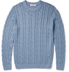 Gieves & Hawkes Cable-Knit Linen and Cotton-Blend Sweater