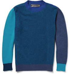 The Elder Statesman Contrast-Trimmed Wool and Cashmere-Blend Sweater