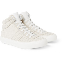 Jimmy Choo Belgravia Crocodile-Embossed Nubuck Sneakers