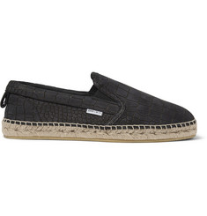 Jimmy Choo Crocodile-Embossed Leather Espadrilles