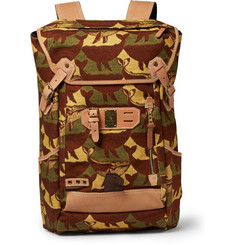 Master-Piece + Nowartt Leather-Trimmed Printed Canvas Backpack