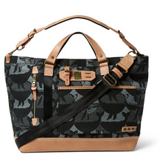 Master-Piece + Nowartt Leather-Trimmed Printed Canvas Holdall Bag