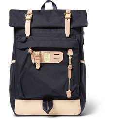 Master-Piece Surpass Leather-Trimmed Nylon Backpack