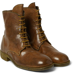 Guidi Burnished Pebble-Grain Leather Boots