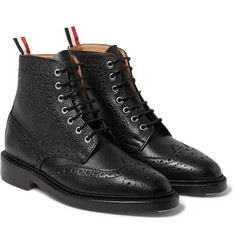 Thom Browne Pebbled-Leather Brogue Boots