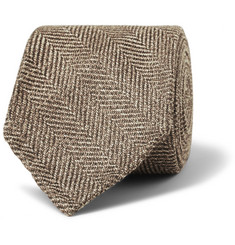 Drake's Wool, Silk and Linen-Blend Herringbone Tie